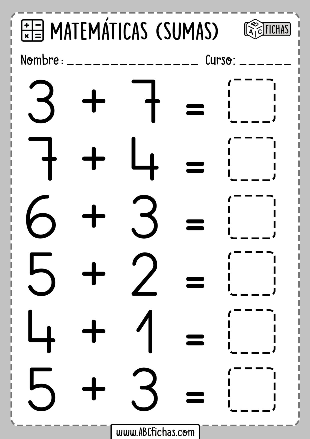 Fichas de Matematicas para Niños