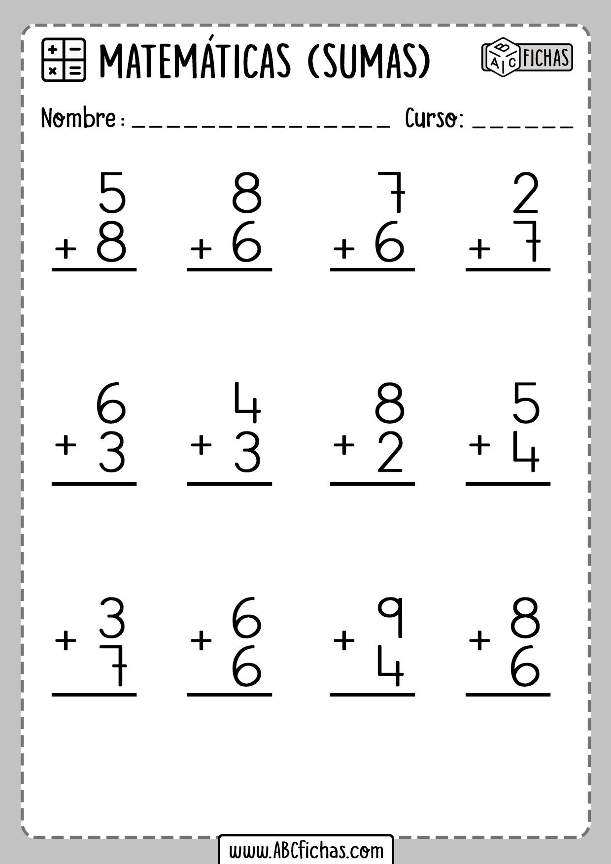 Fichas de Sumas de 2 digitos matematicas