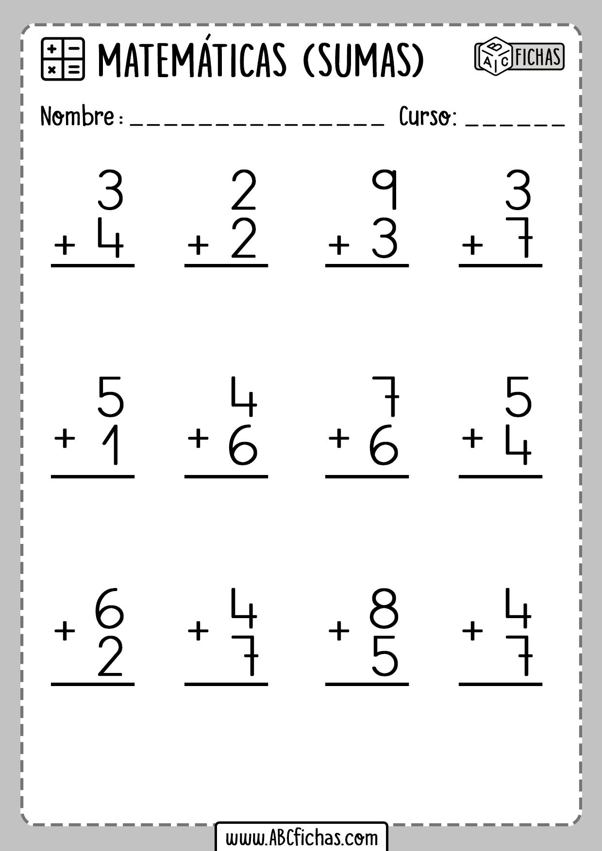 Sumas de 2 cifras Fichas de matematicas