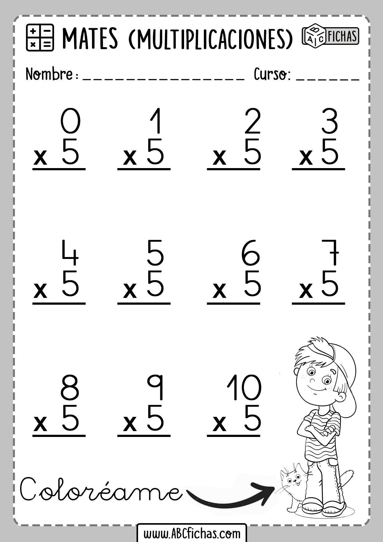 Ejercicios de Multiplicaciones Tabla del 5