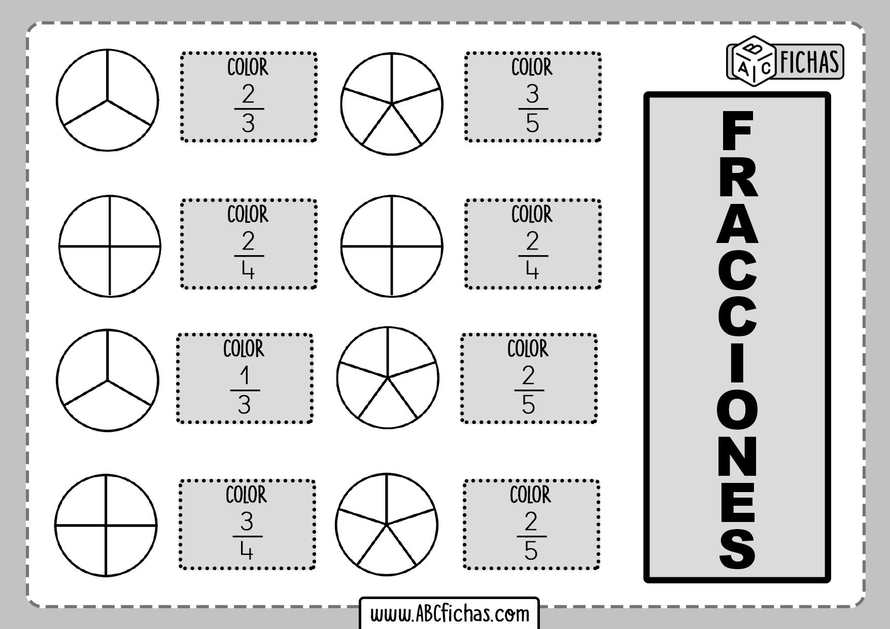 Fichas de Fracciones Matematicas