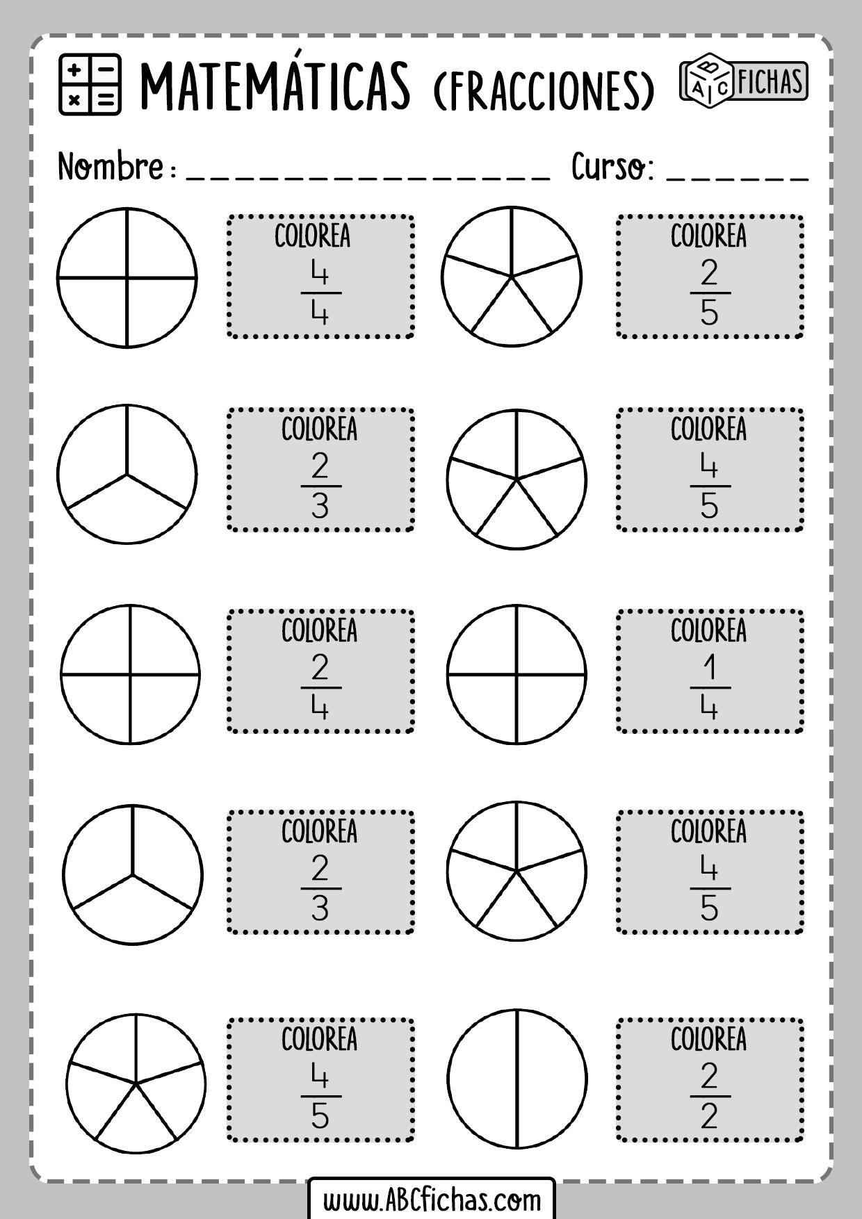 Fichas de Fracciones Para Primaria