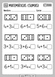 Fichas de Matemáticas para repasar sumas