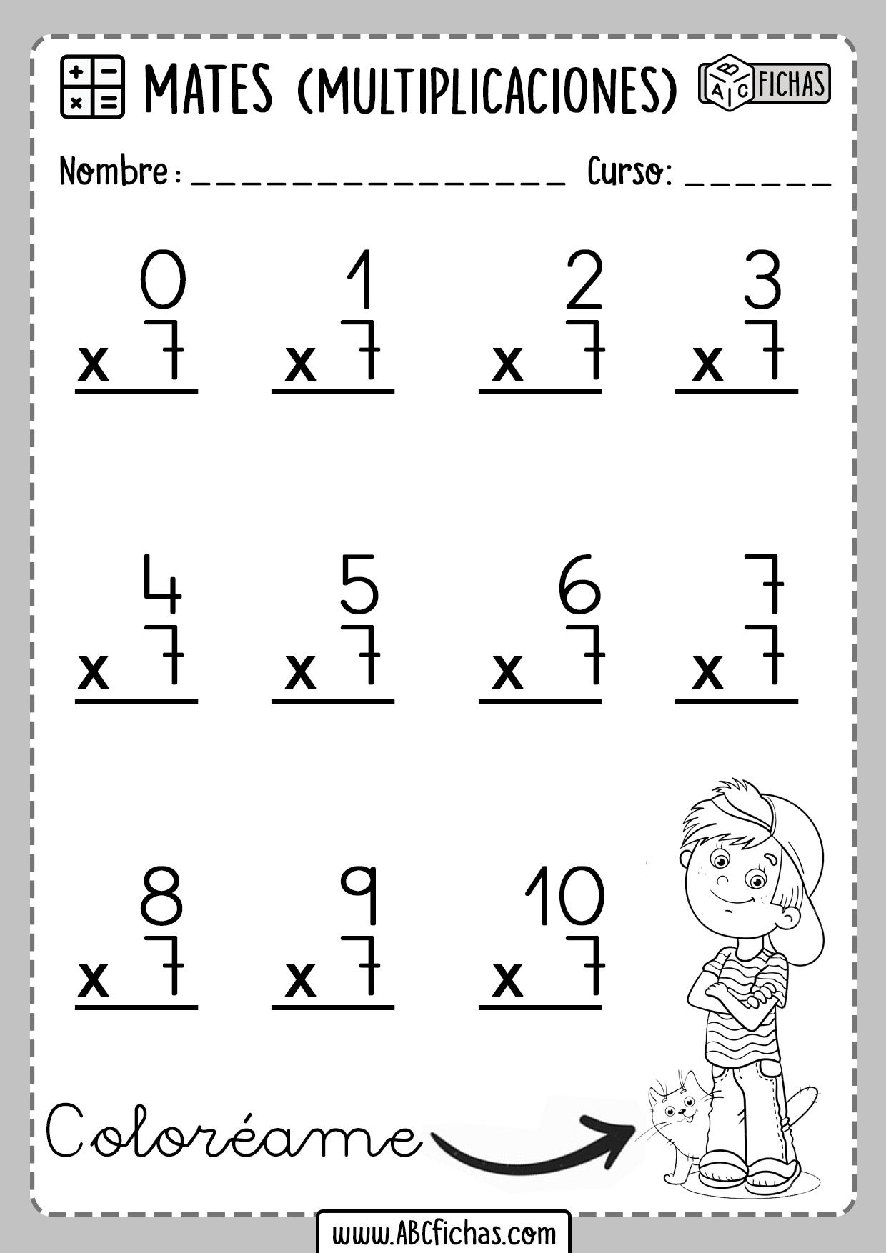 Fichas de Matematicas Multiplicaciones Tabla del 7