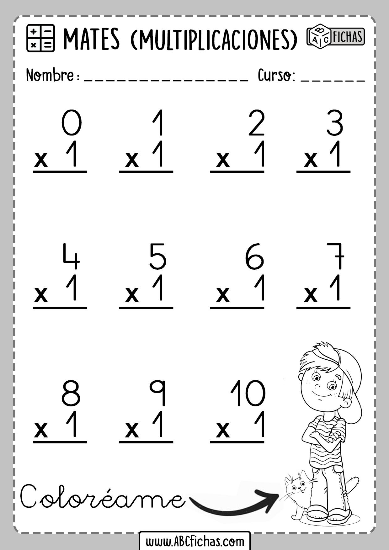 Fichas de Multiplicaciones Tabla del 1