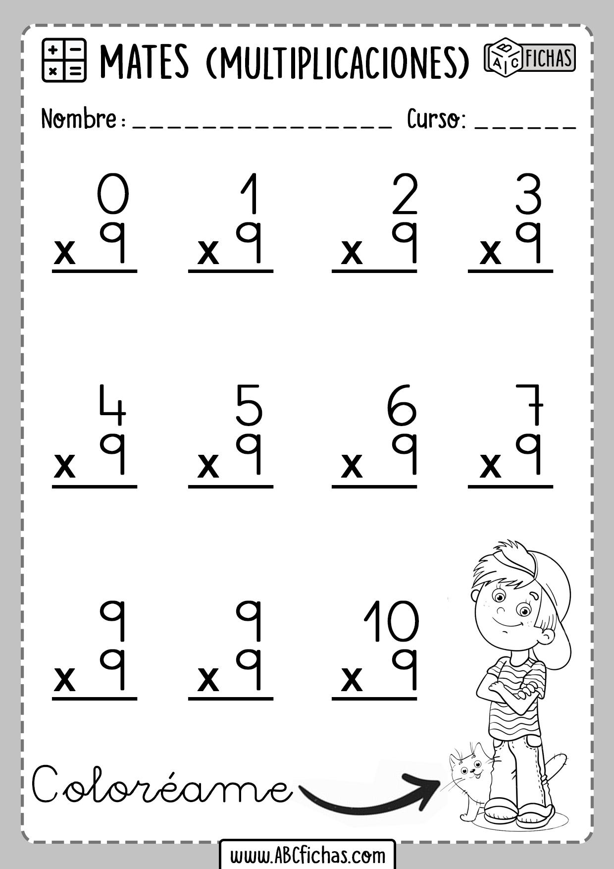 Fichas de Multiplicaciones Tabla del 9