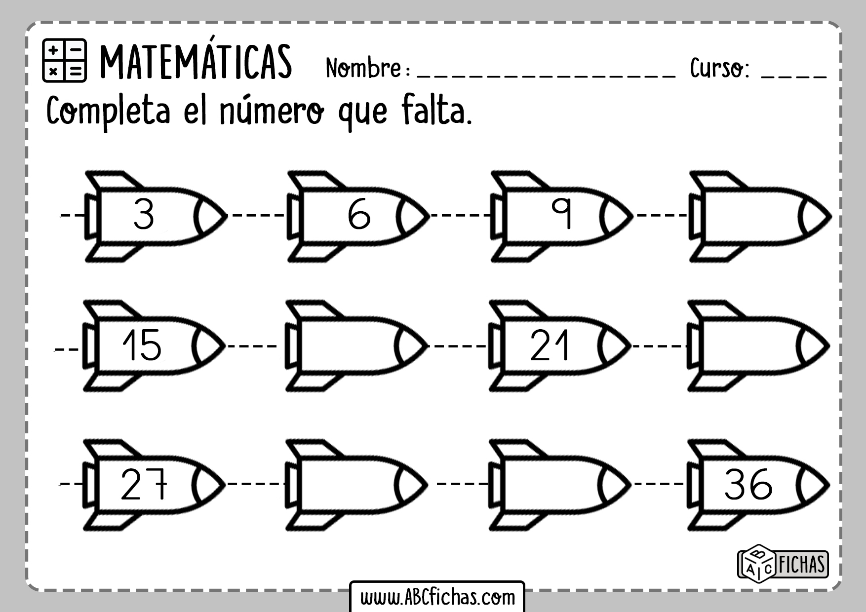 Fichas de Series Numericas Gratis para Niños
