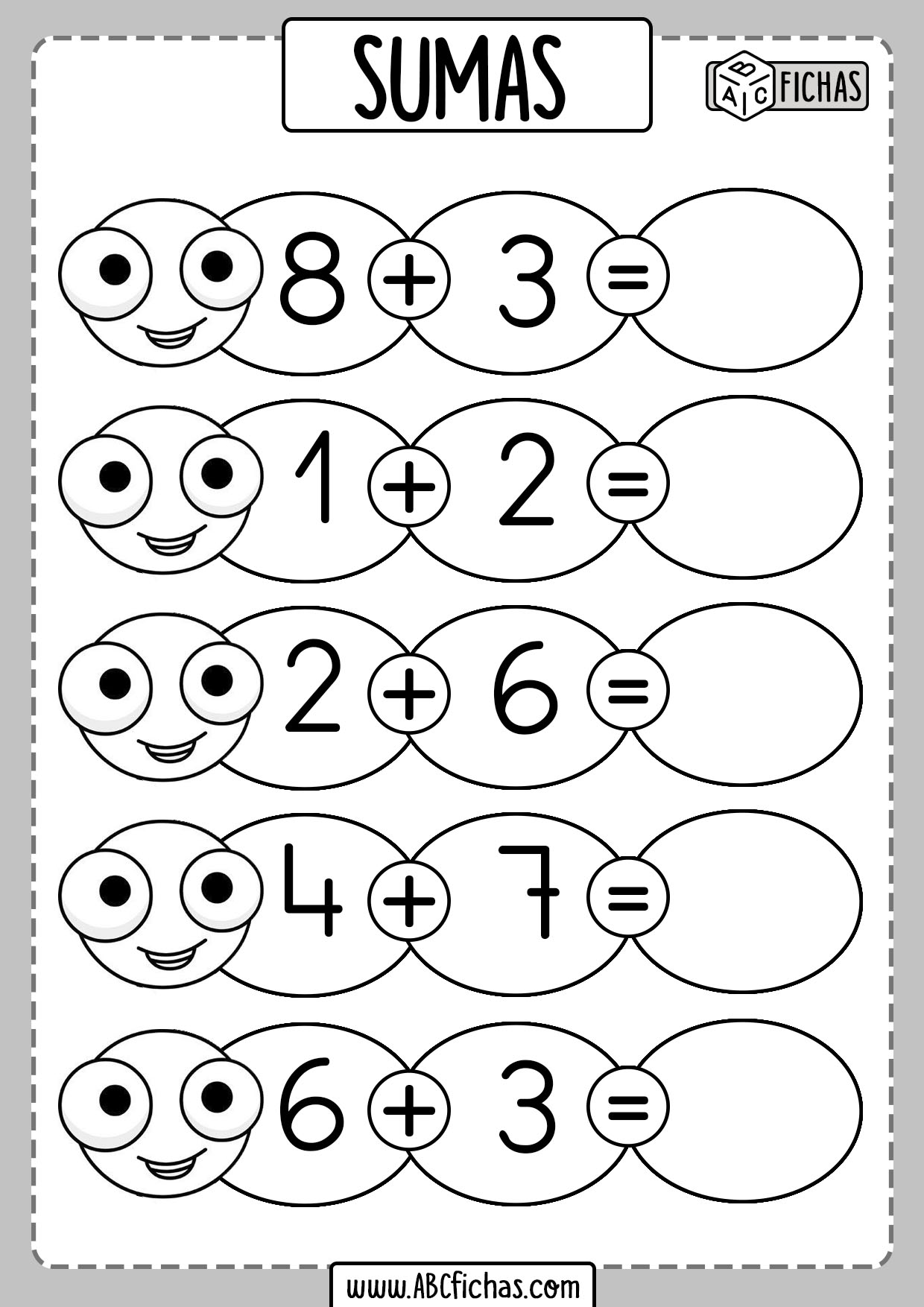 Fichas de matemáticas para repasar Aumas y Restas