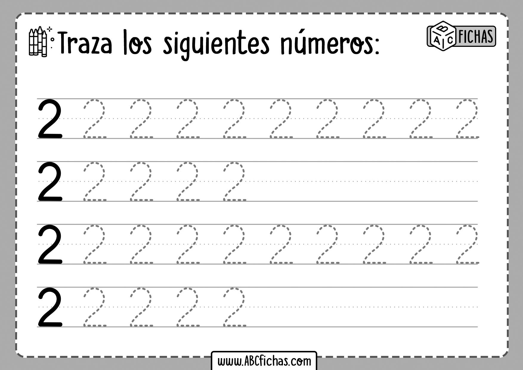 Fichas para aprender a trazar los Numeros