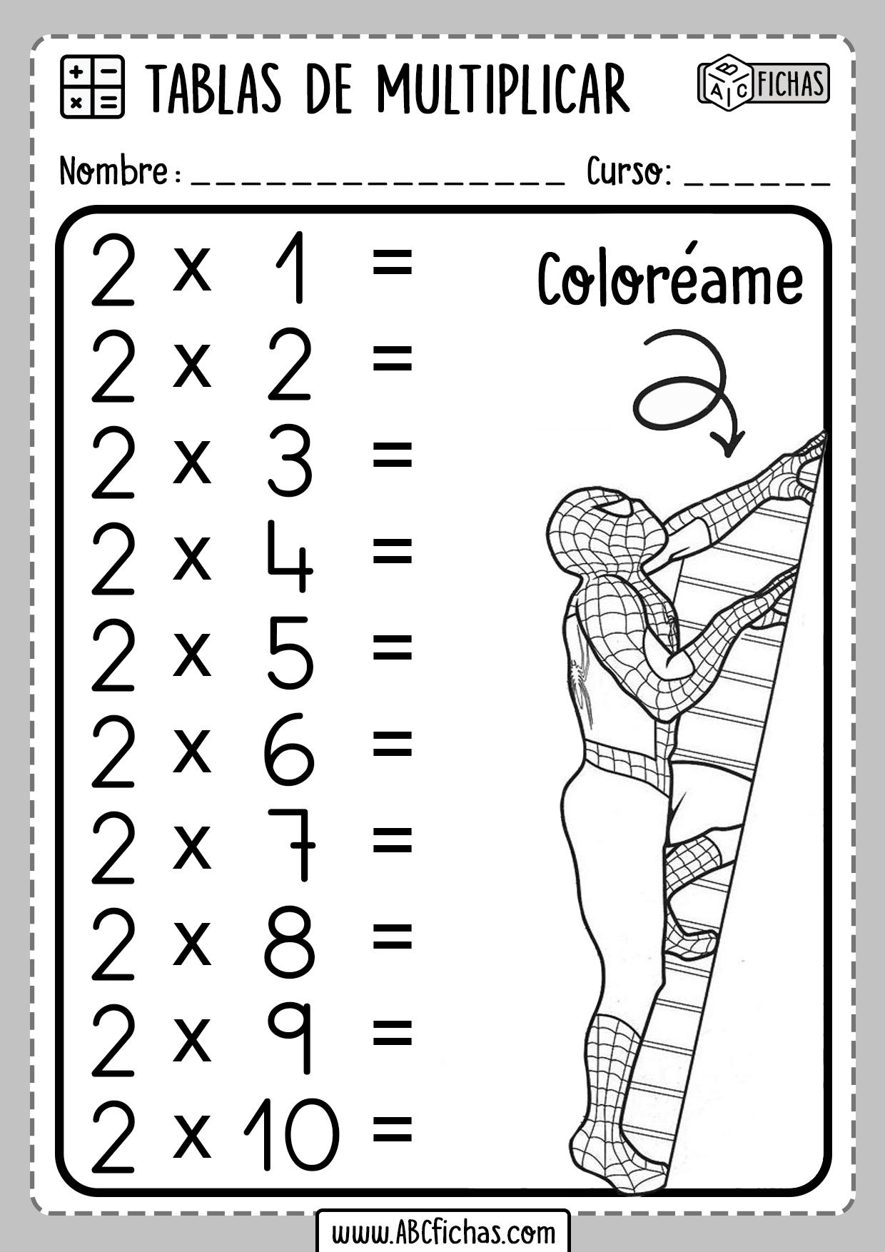 Fichas para repasar las tablas de multiplicar