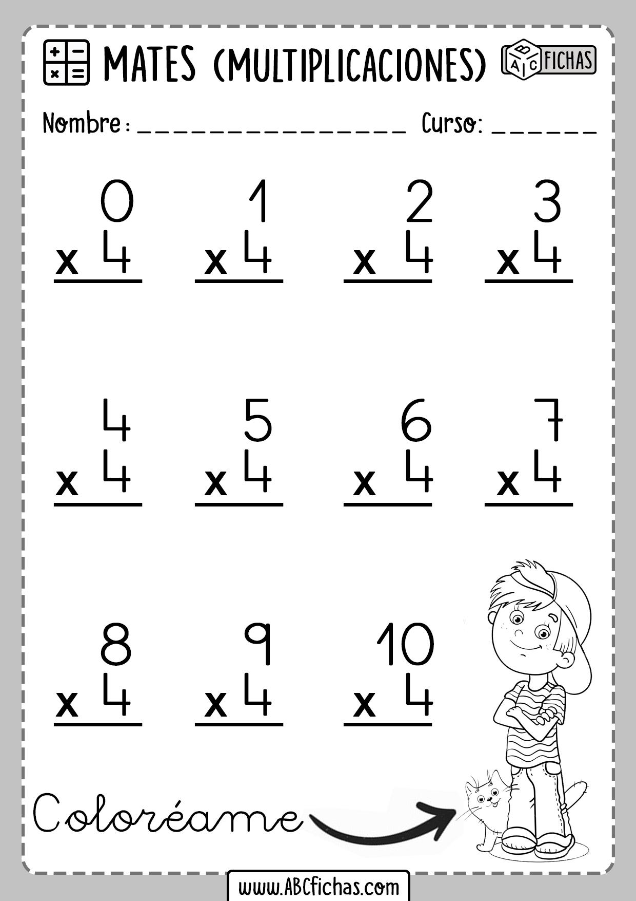 Multiplicaciones para Primaria Tabla del 4