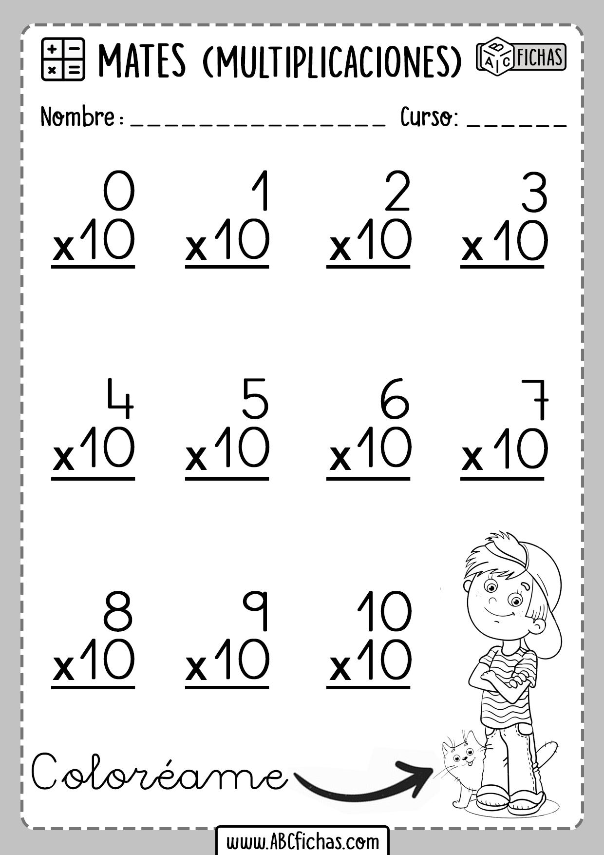 Operaciones de Multiplicaciones Tabla del 10