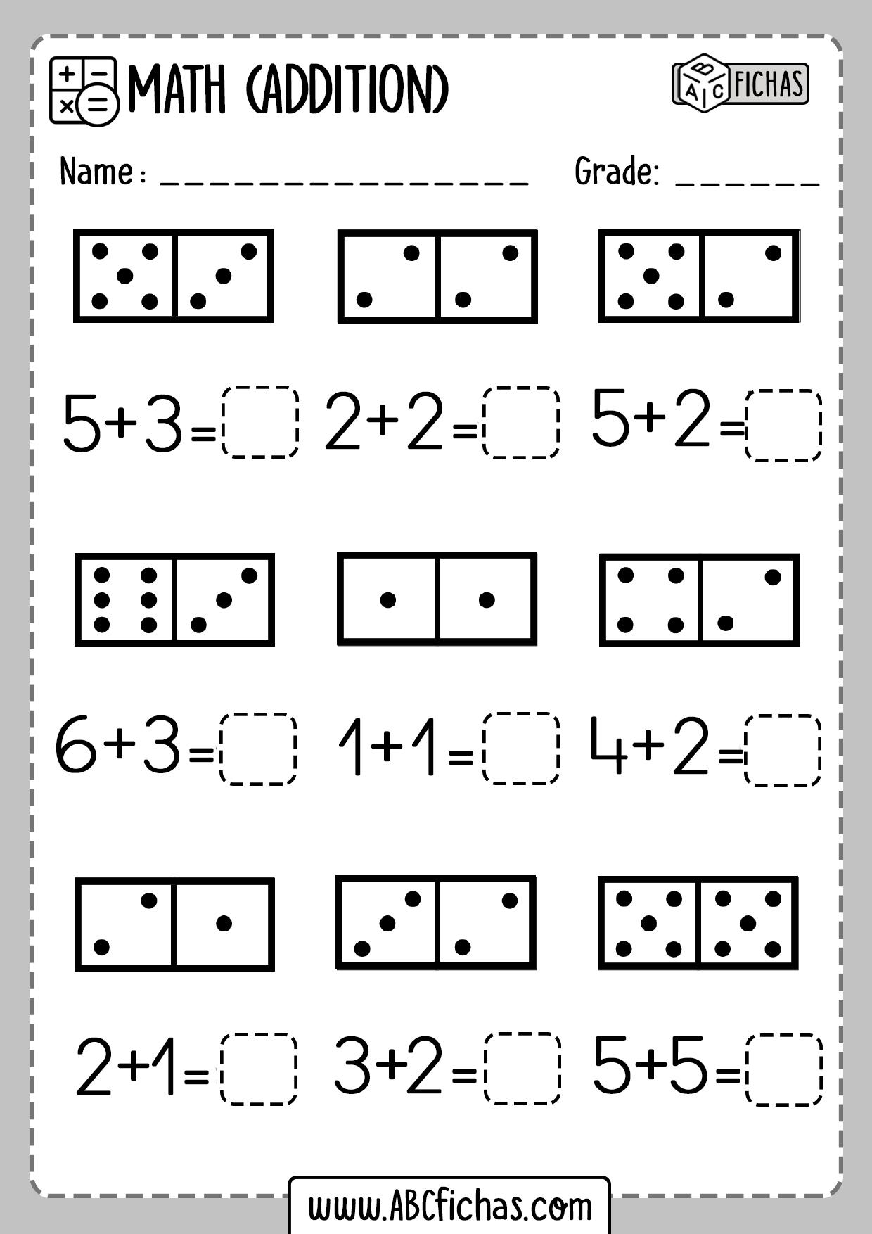 Domino addition worksheet