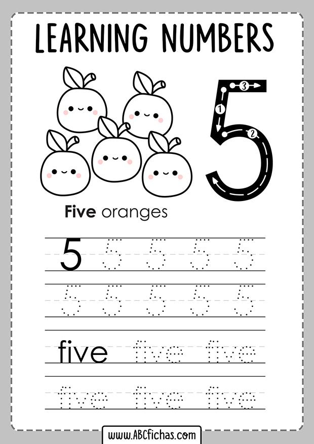 Tracing numbers kindergarten
