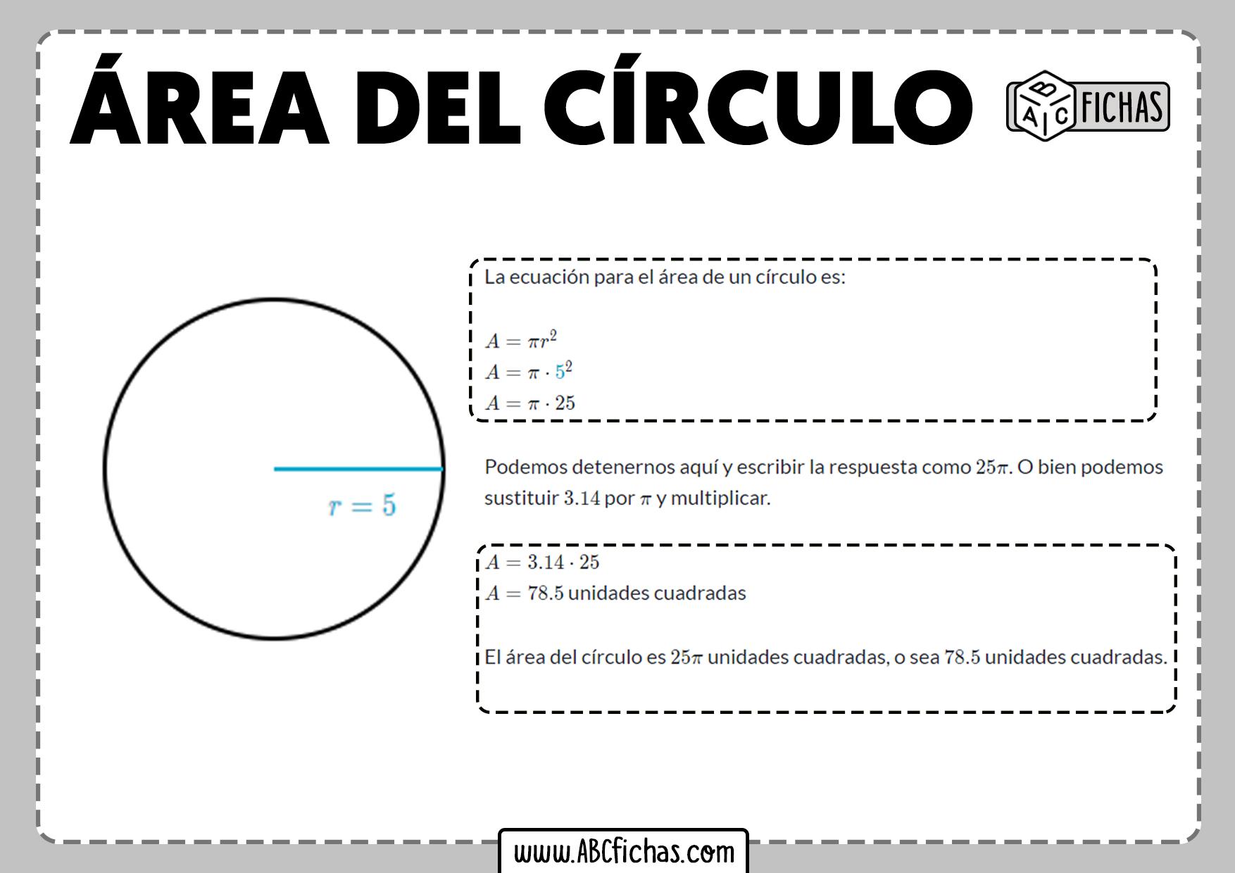 Area circulo formula