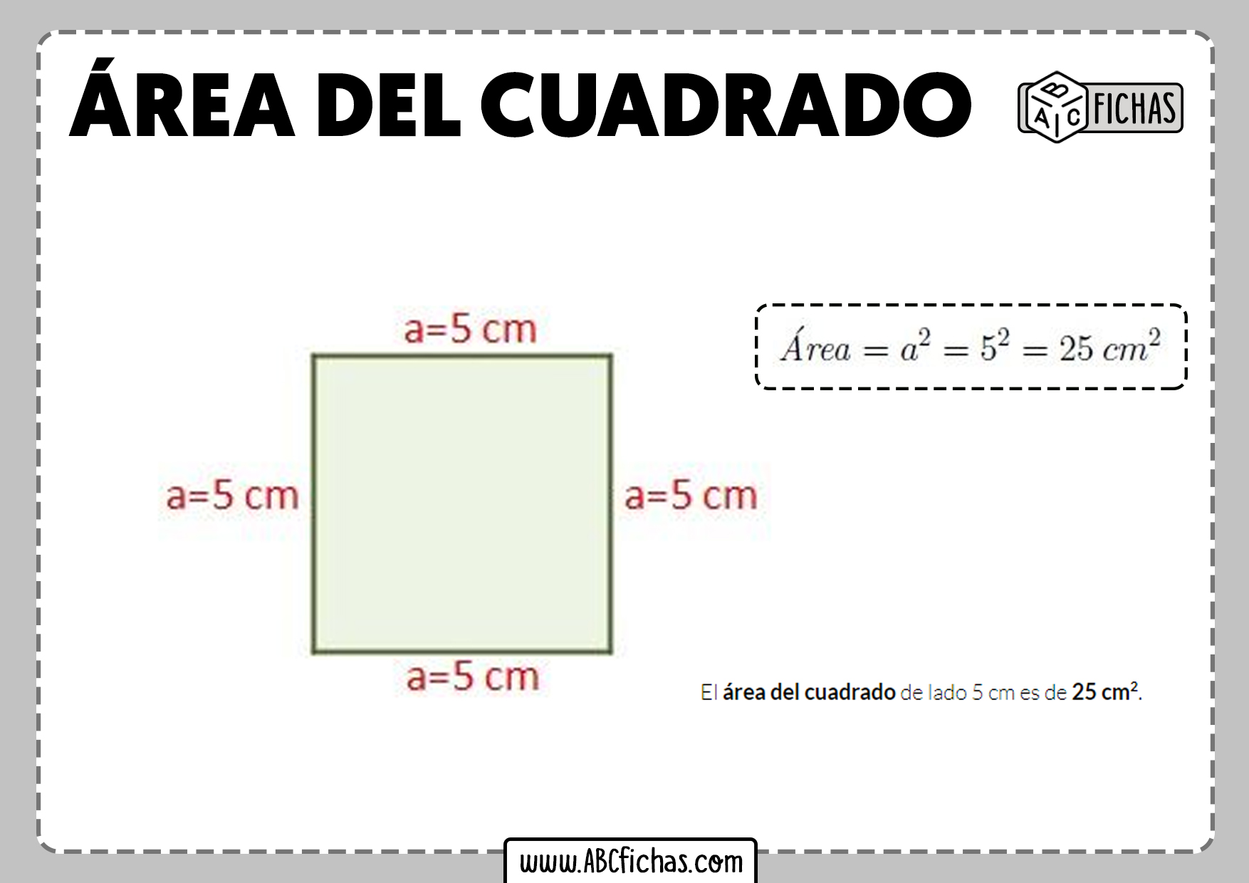 Calcular area cuadrado formula