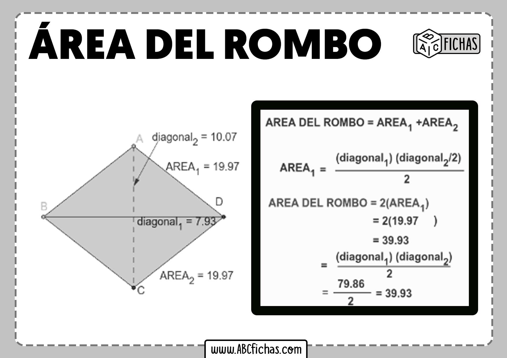 Como calcular area del un rombo formula