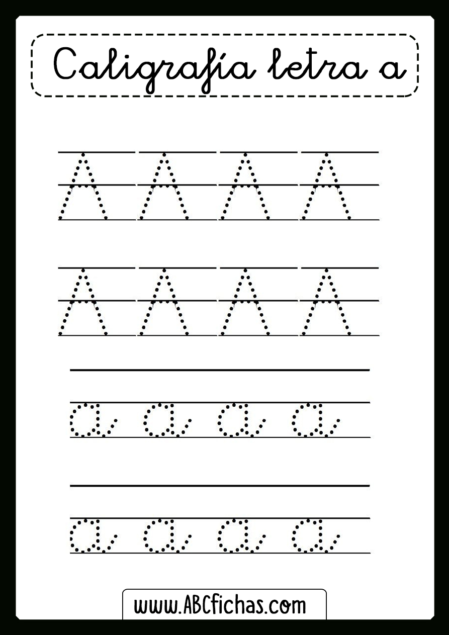 Ficha de caligrafia de la letra a