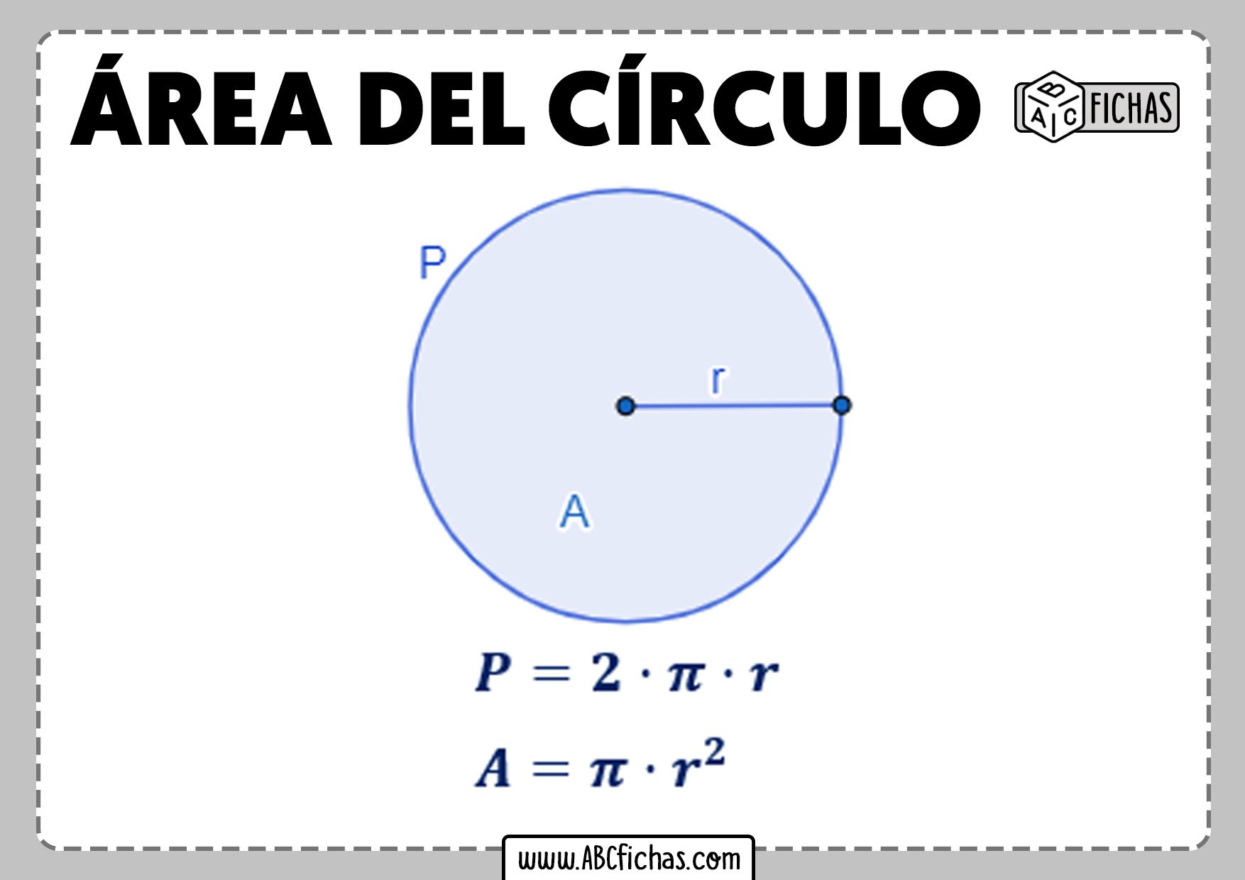 Formula area del circulo