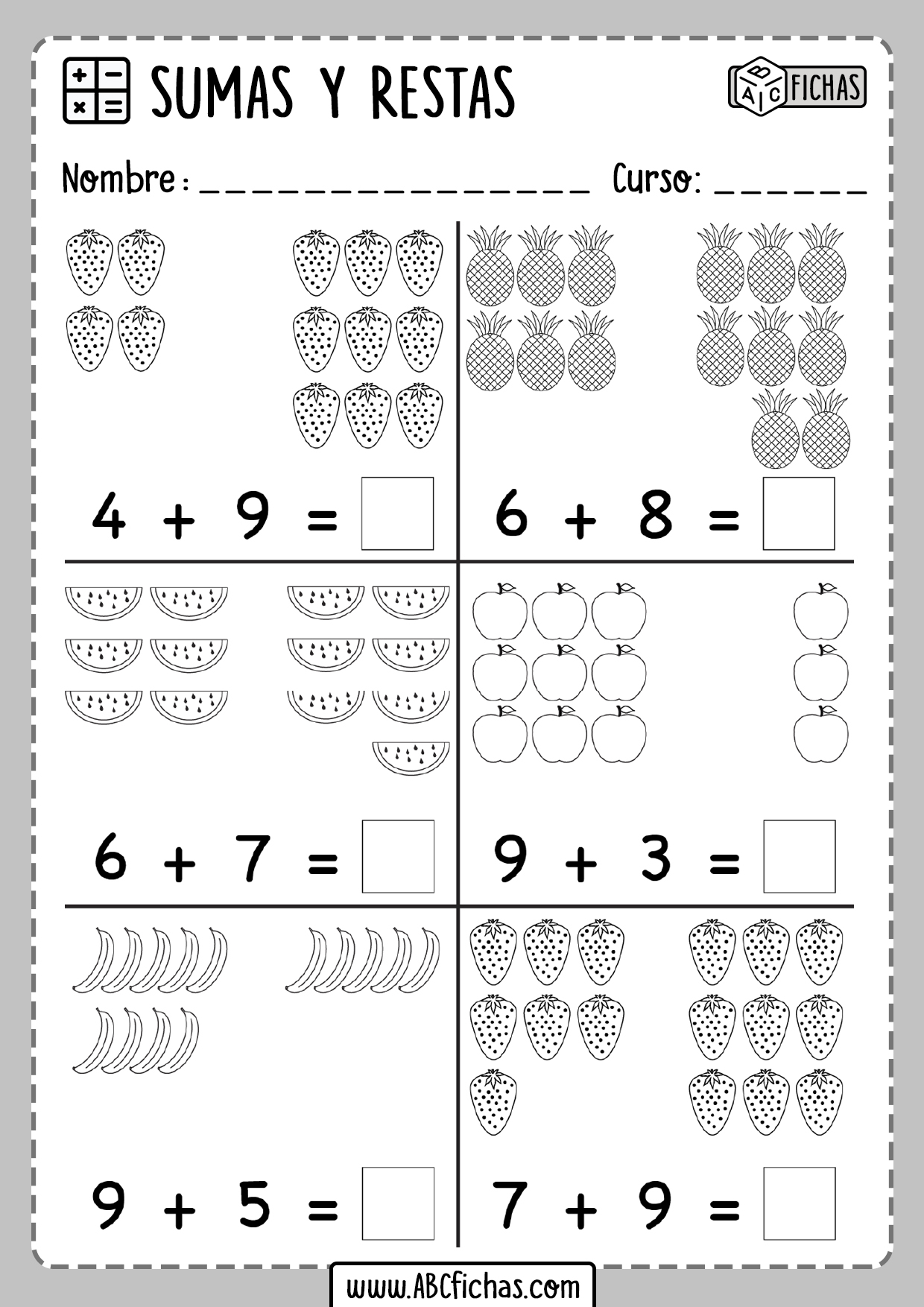 Sumas de dibujos para primaria