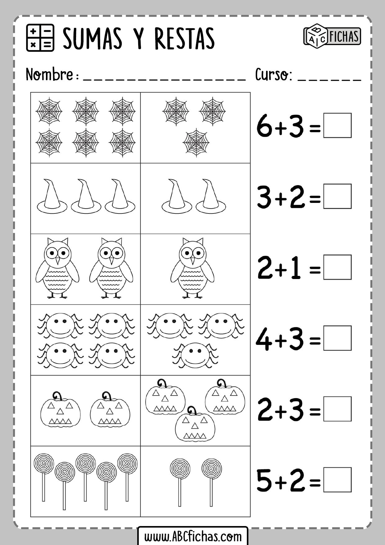 Sumas y restas para primaria con dibujos