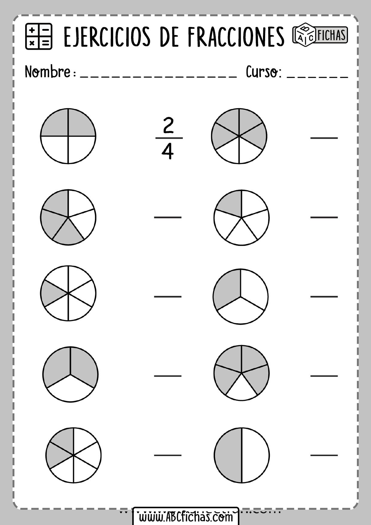 Ejercicios de fracciones para primaria