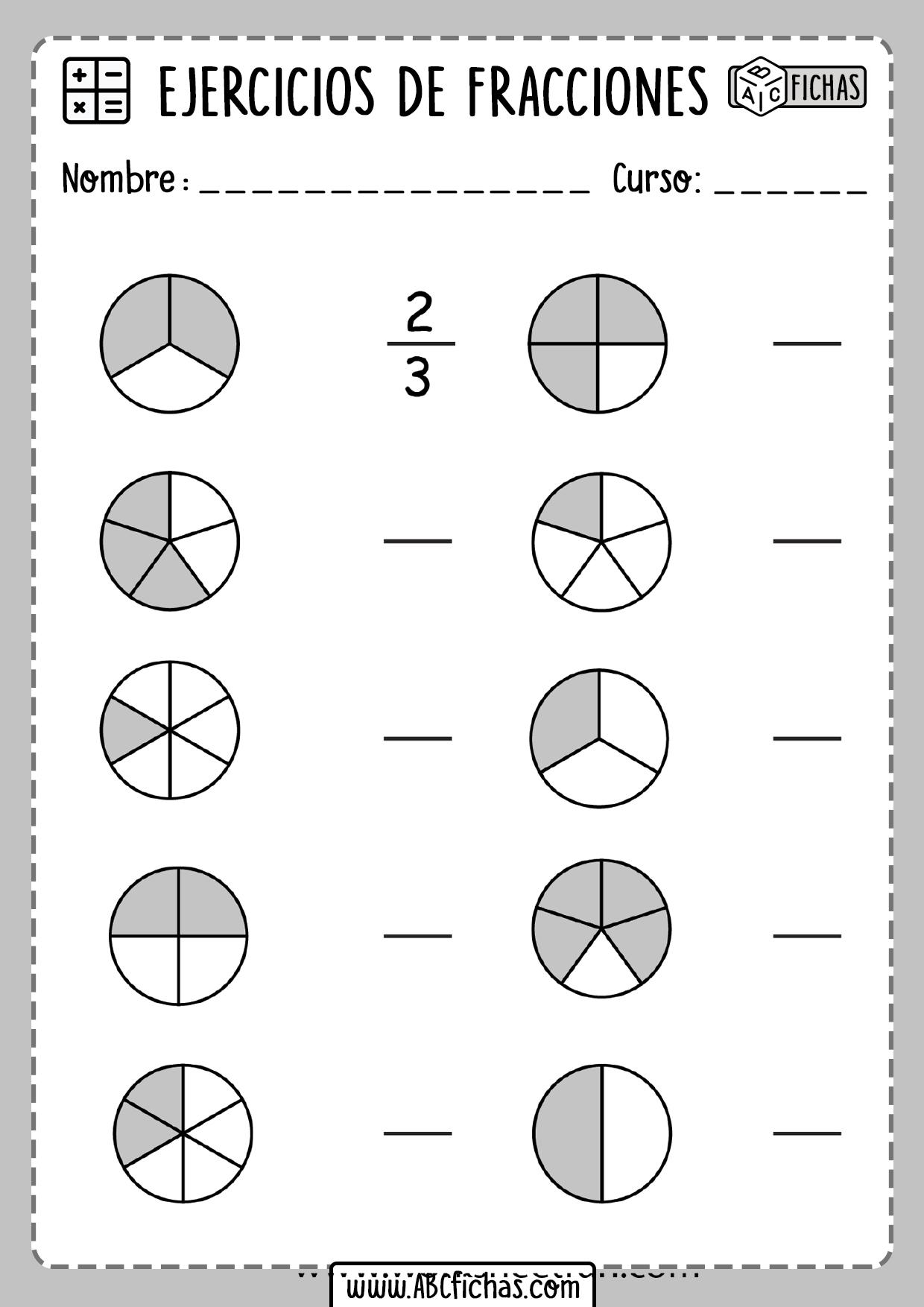 Ejercicios de fracciones para primero de primaria