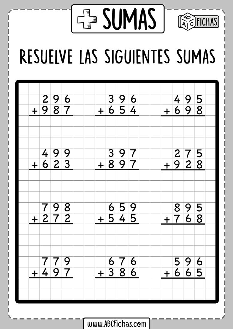 Ejercicios de sumas de 3 digitos
