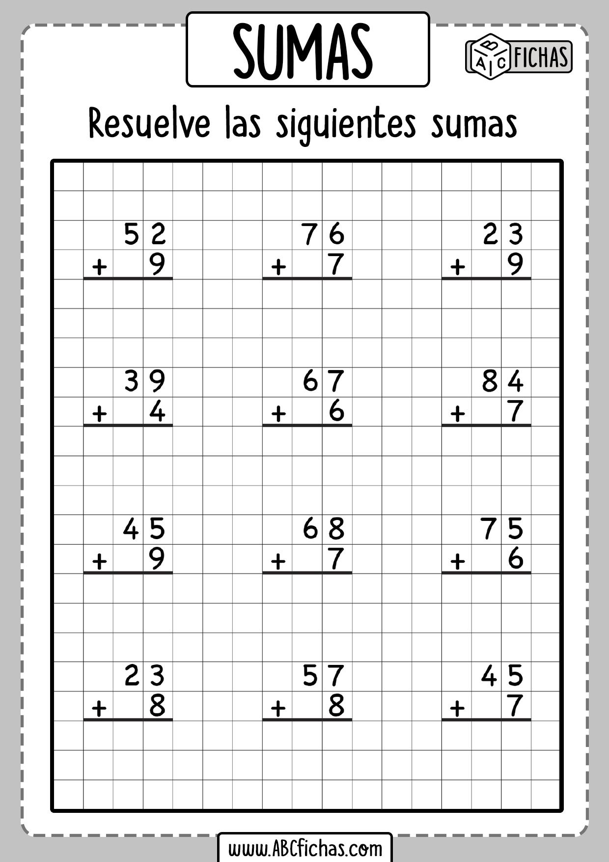 Ejercicios de sumas para primero de primaria