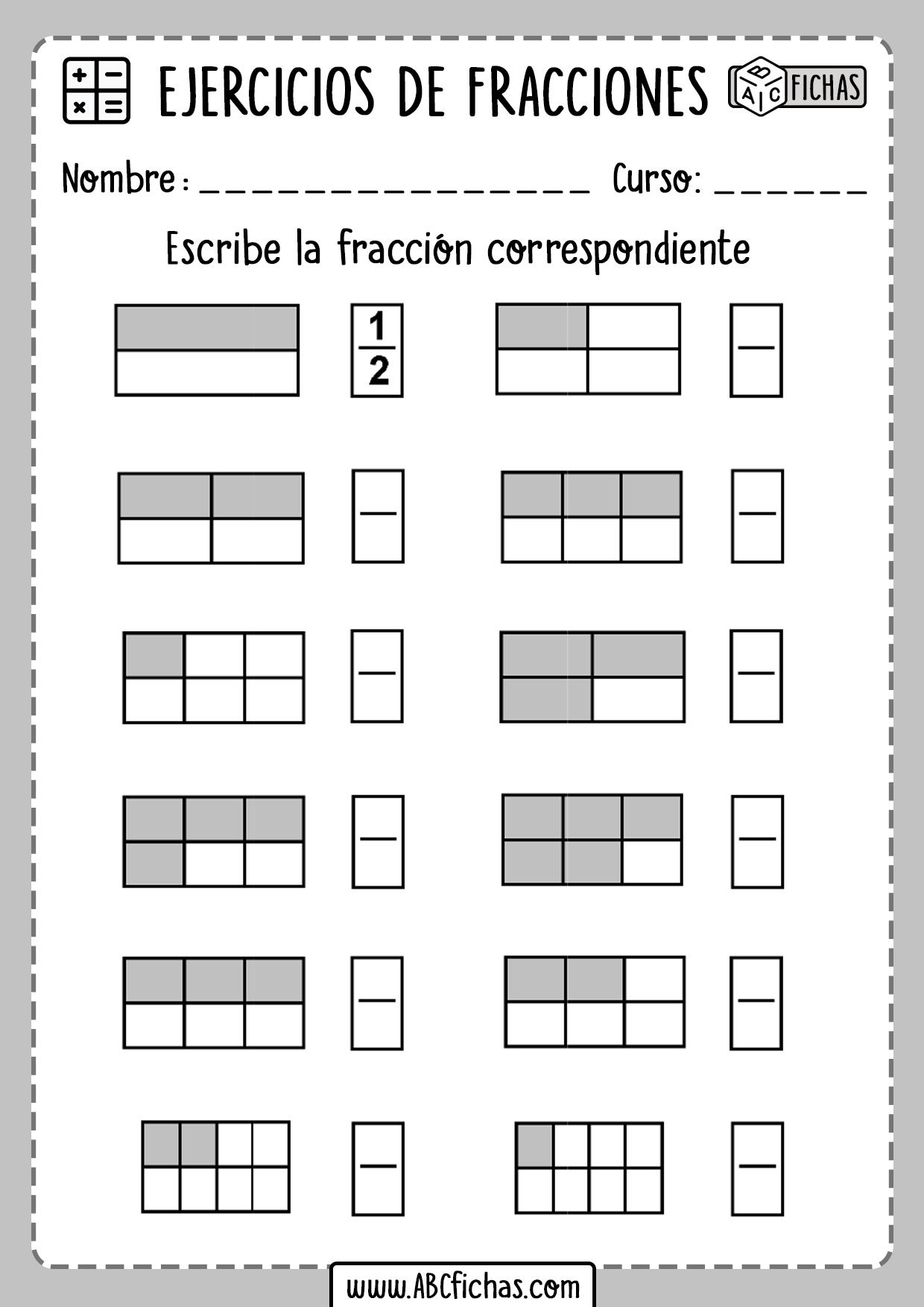 Fichas con ejercicios de fracciones