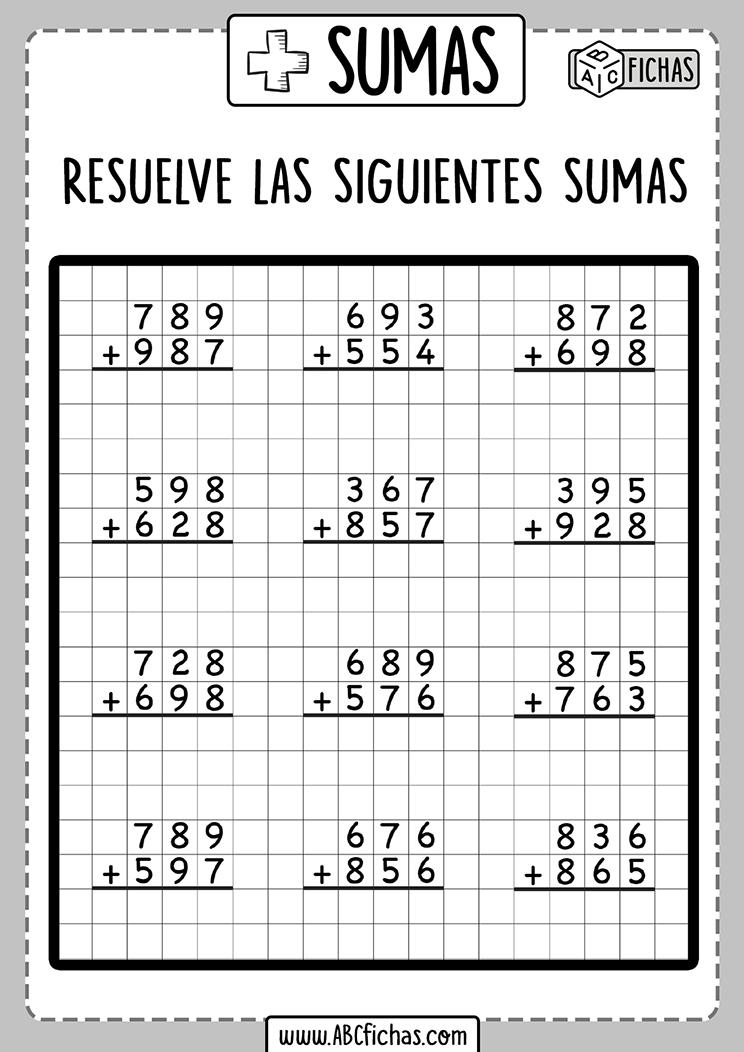 Fichas de sumas de 3 digitos