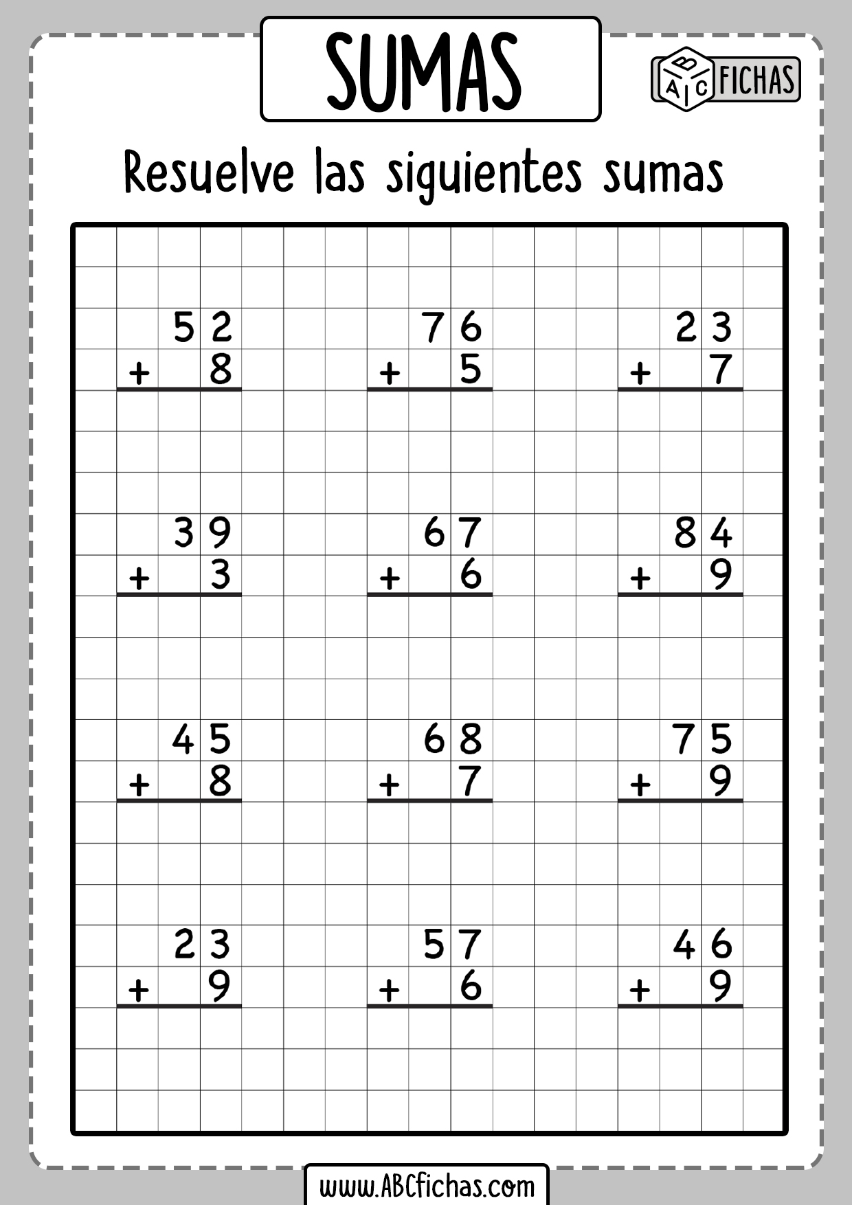 Fichas de sumas de dos sumandos para primaria