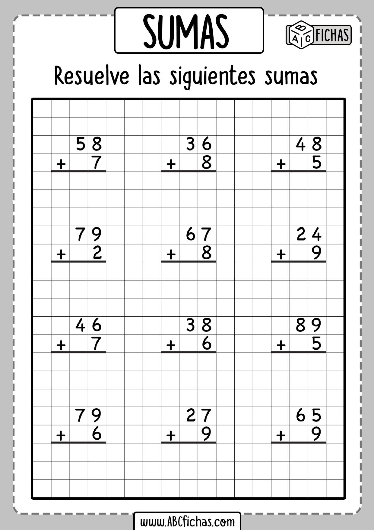 Fichas de sumas para niños de primaria