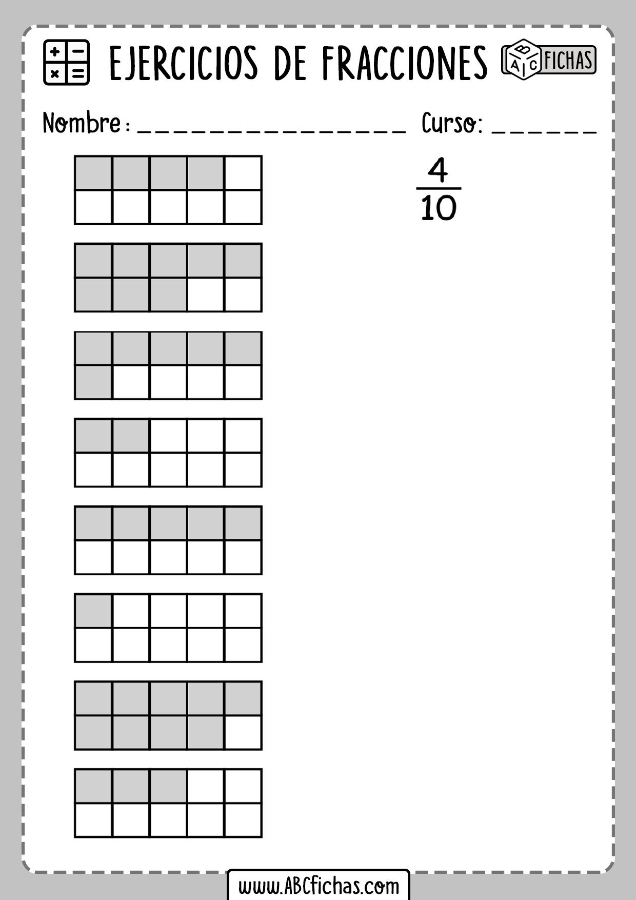 Fracciones ejercicios primaria