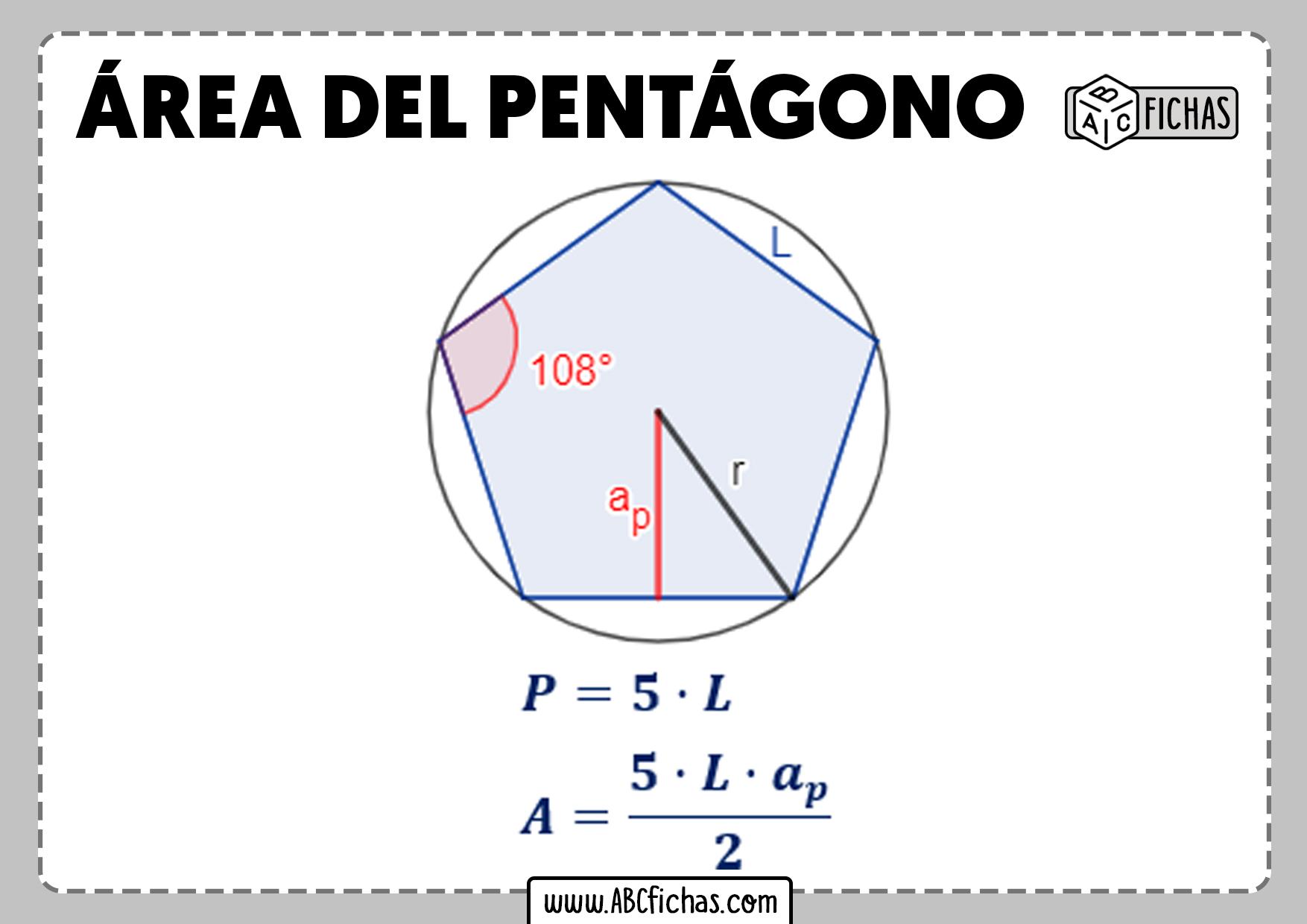 Como se calcula area del pentagono