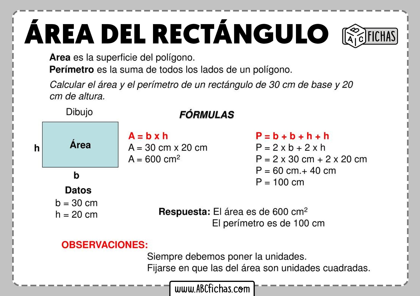 Como se calcula el area del rectangulo