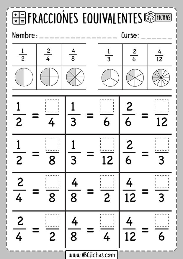 Ejercicios de fracciones equivalentes para imprimir