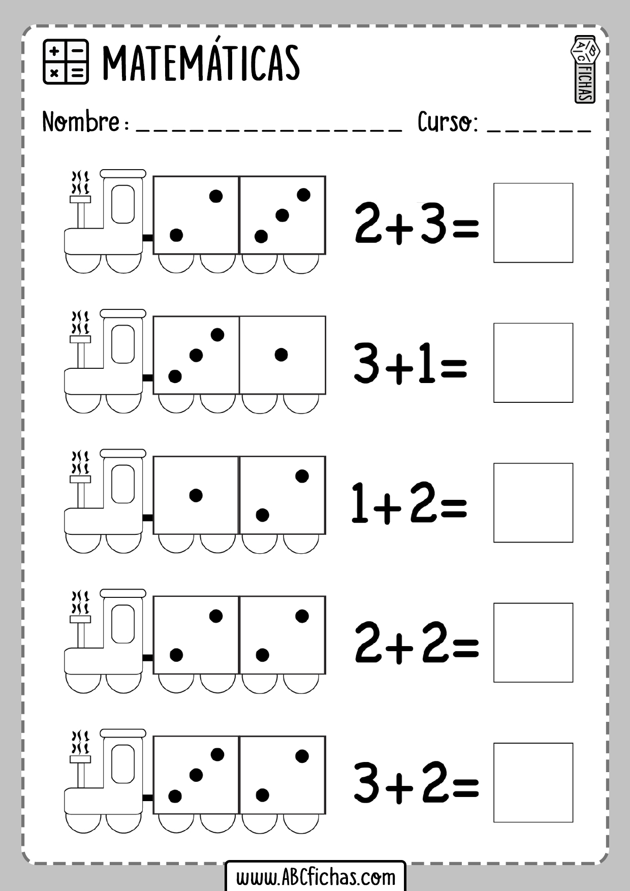 Ejercicios de sumas con dibujos
