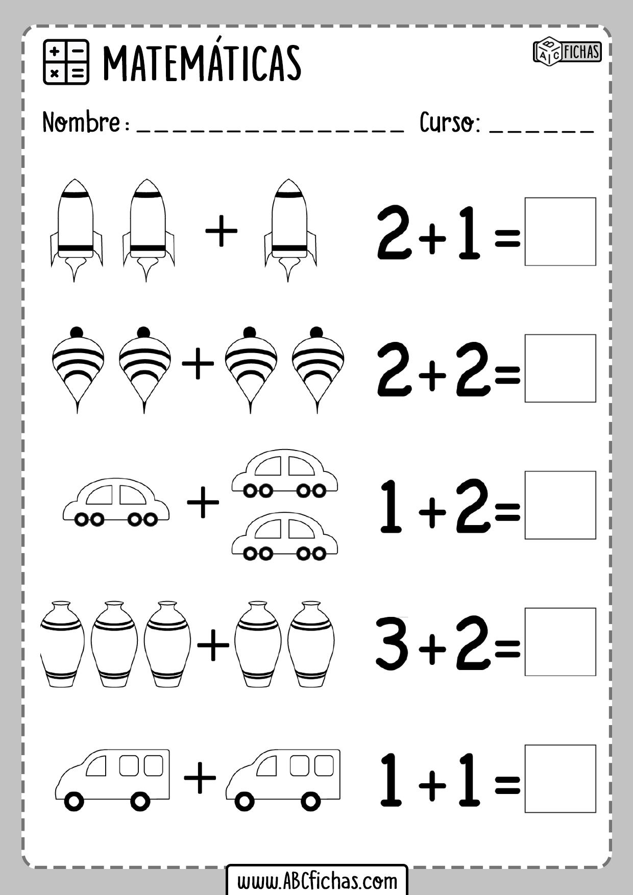 Ejercicios de sumas de dibujos para niños