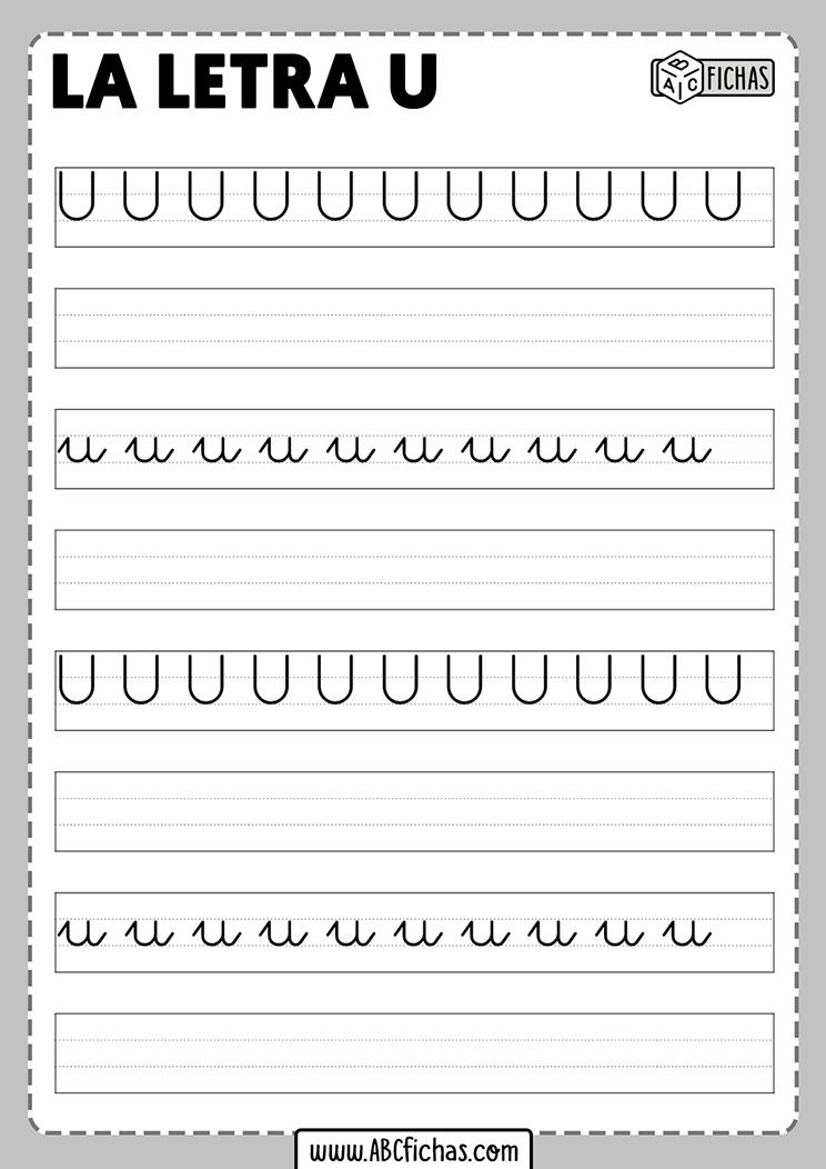 Ficha caligrafia letra u