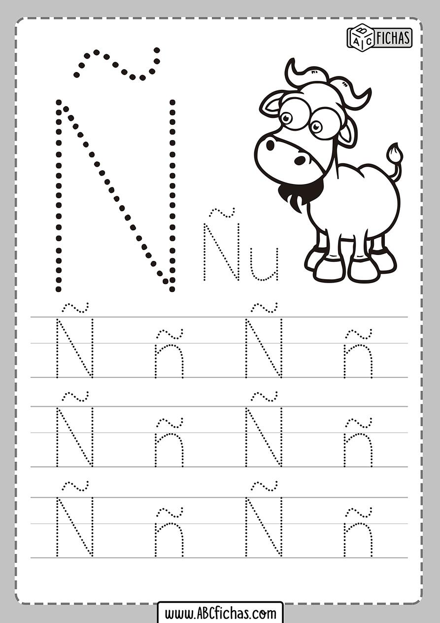 Ficha de la letra Ñ