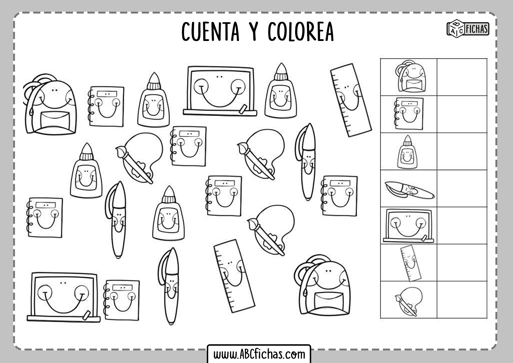 Fichas de cuenta y colorea
