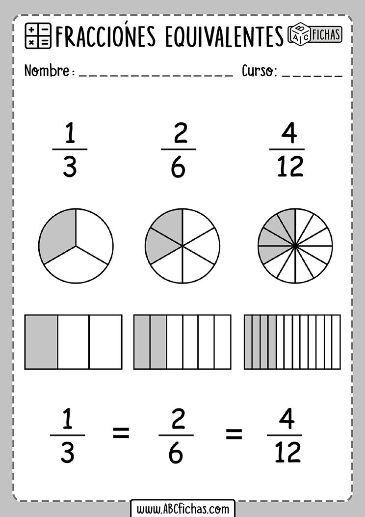 Fichas de fracciones equivalentes