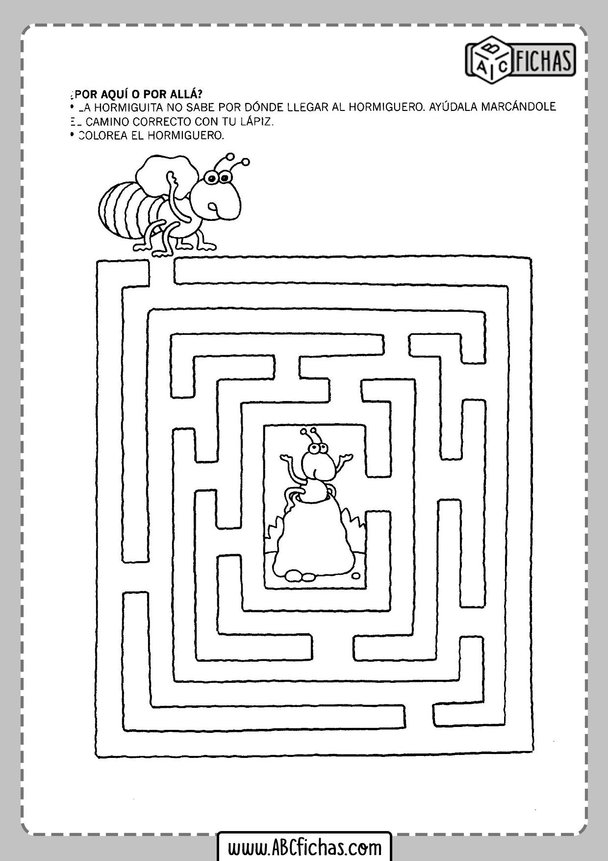 Fichas de laberintos para niños