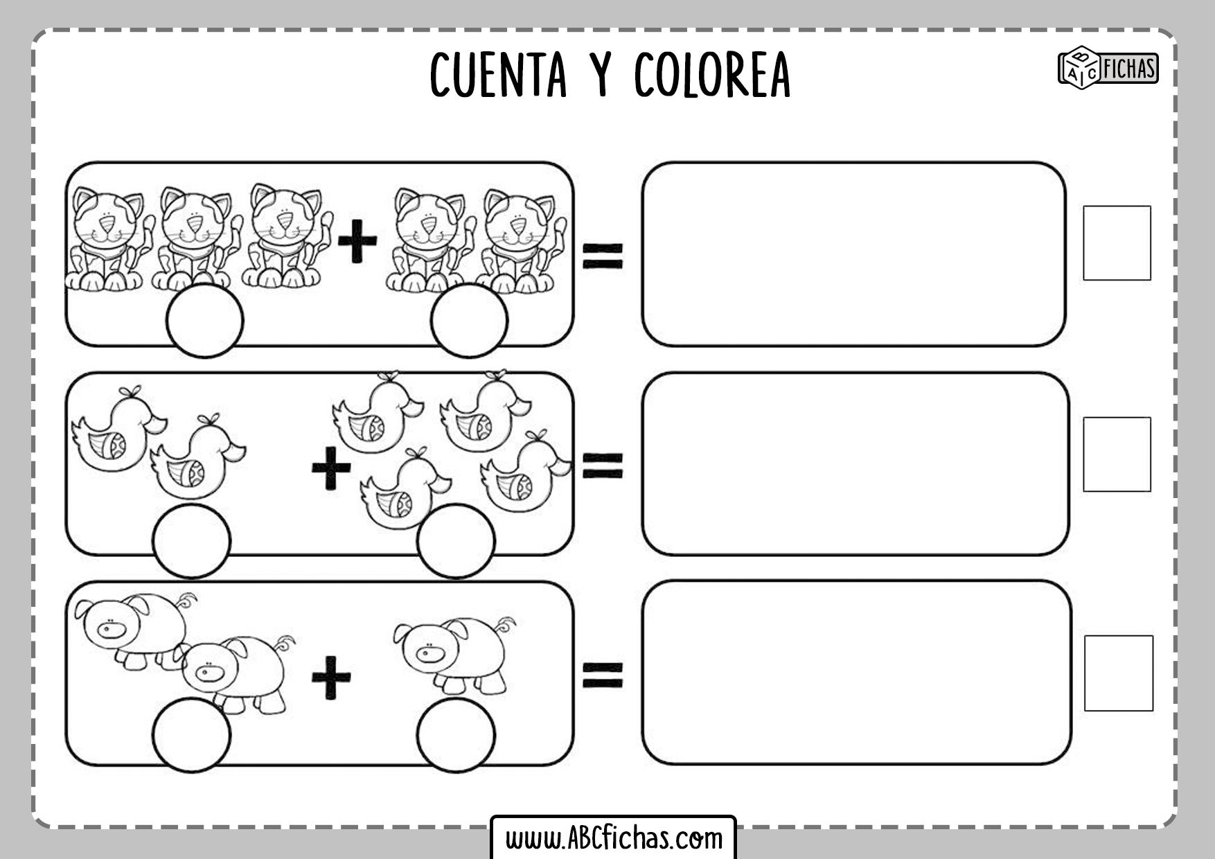 Fichas de sumar y colorear