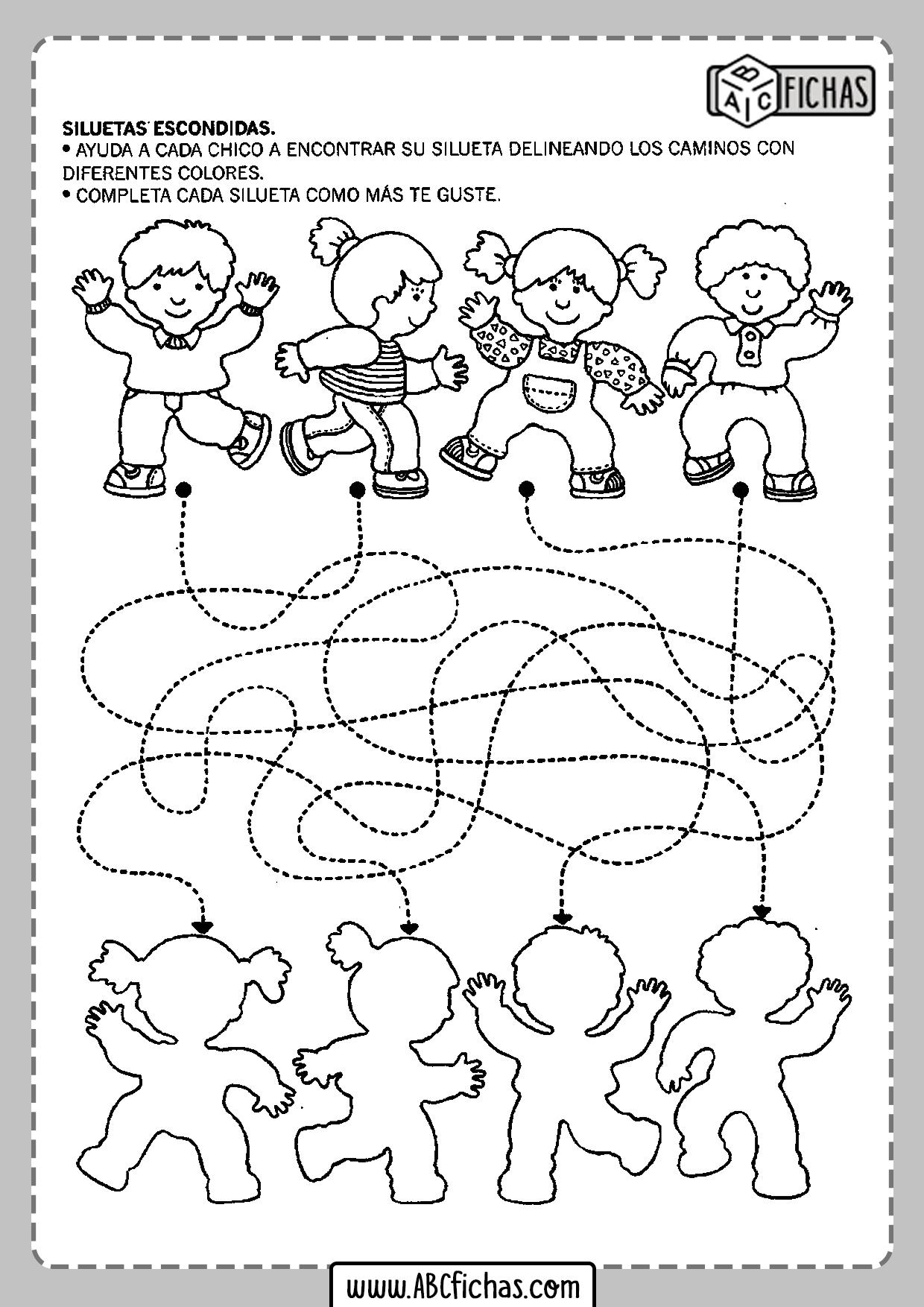 Fichas de unir para preescolar