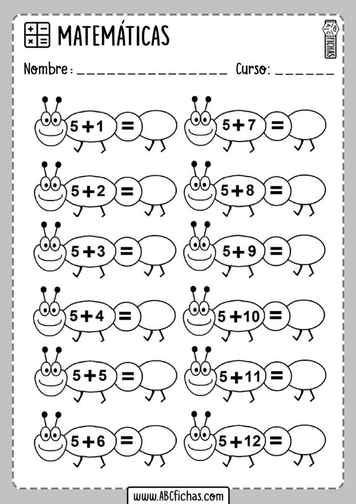 Fichas de sumas de 2 digitos