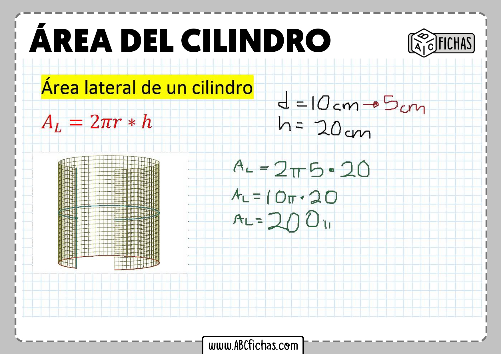 Formula area del cilindro