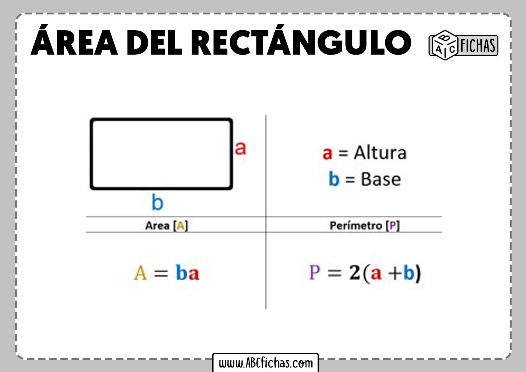 Formula area y perimetro del rectangulo
