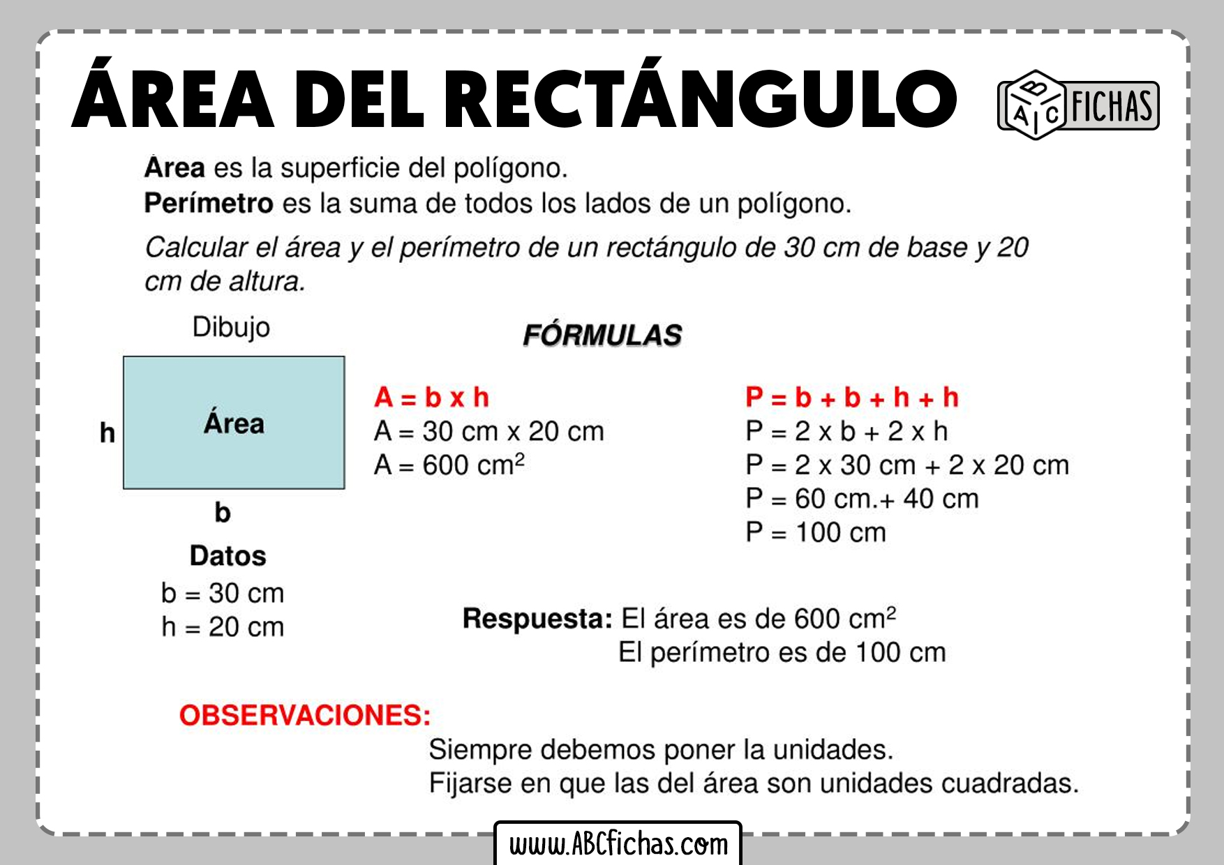 Formula del area del rectangulo